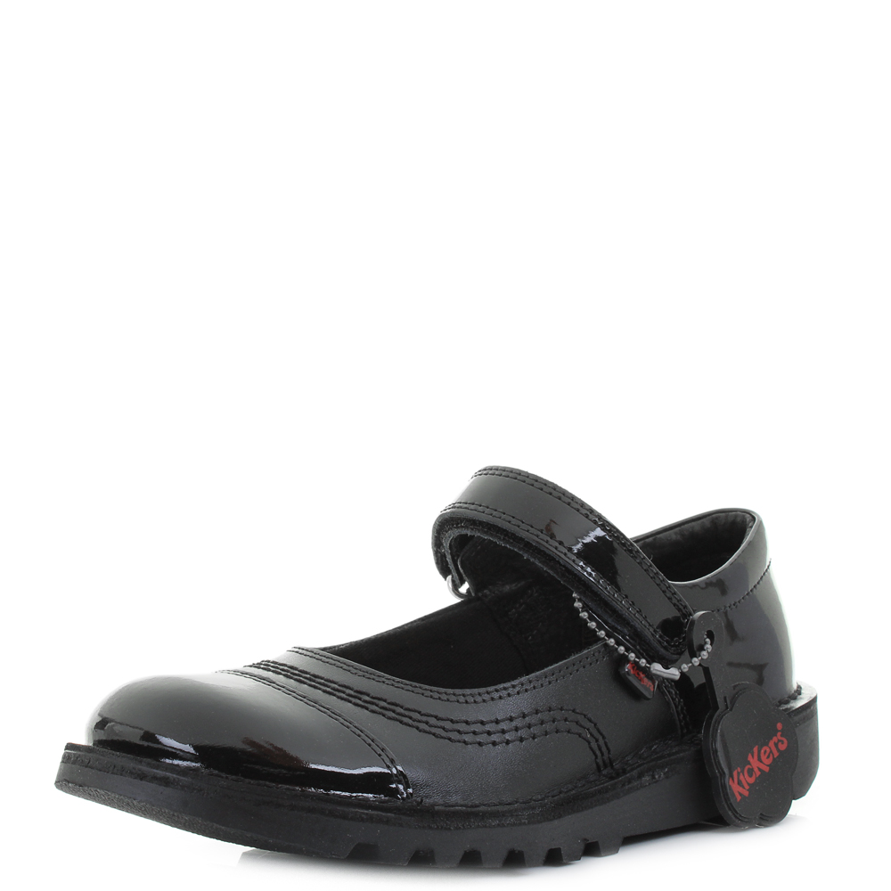 kickers kick pop black leather school