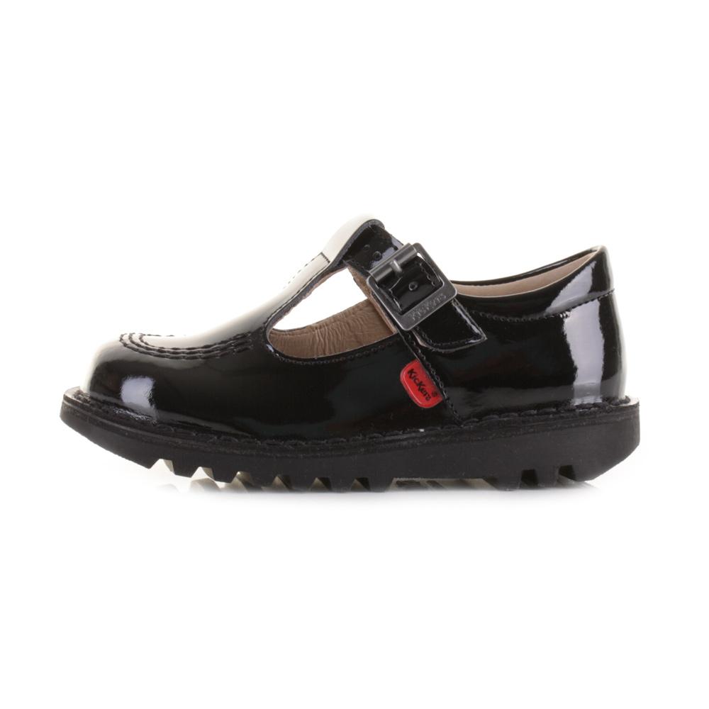 kickers kick t infant patent leather black t bar