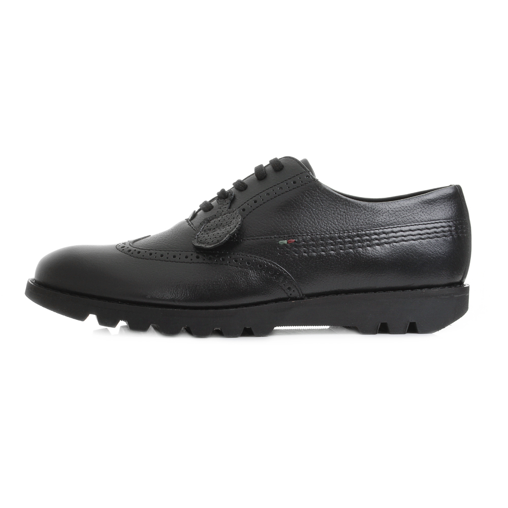 Mens Kickers Kymbo Brogue Black Lace Up Work School Shoes ...