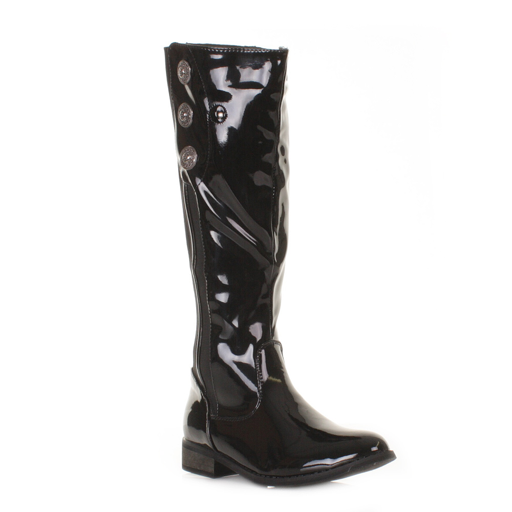 womens black patent knee high button wide fit stretch