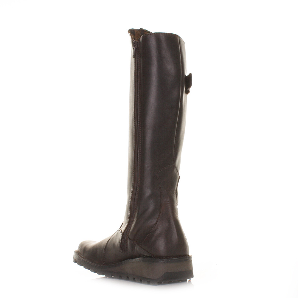 womens fly mol matt brown leather knee high
