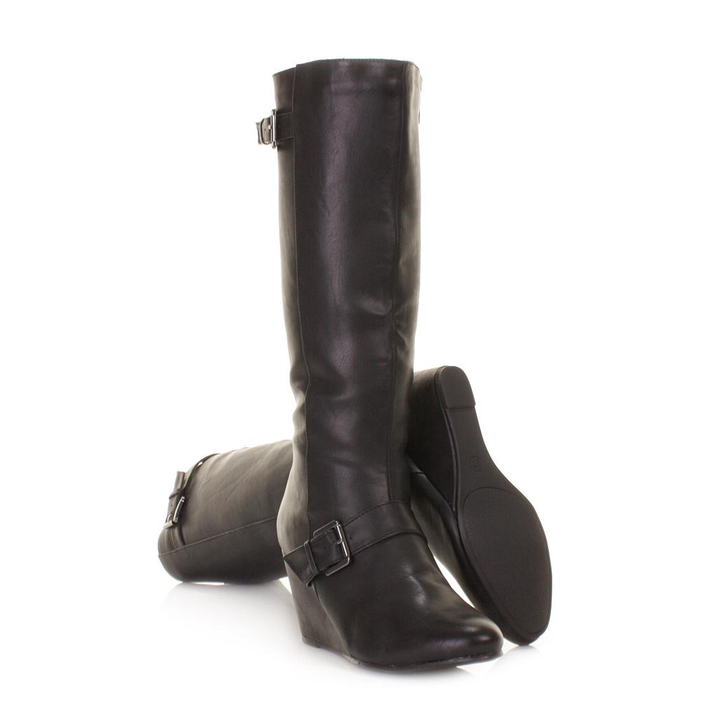 womens black mid wedge heel leather style knee high
