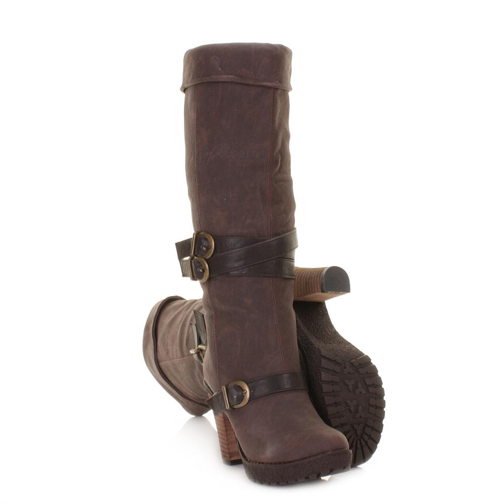 womens high heel brown chunky biker knee cuff