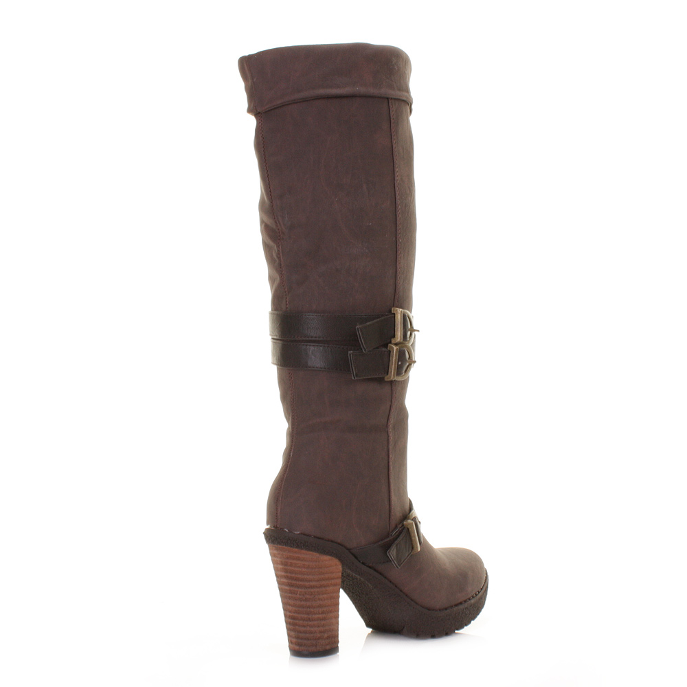womens high heel brown chunky biker knee cuff