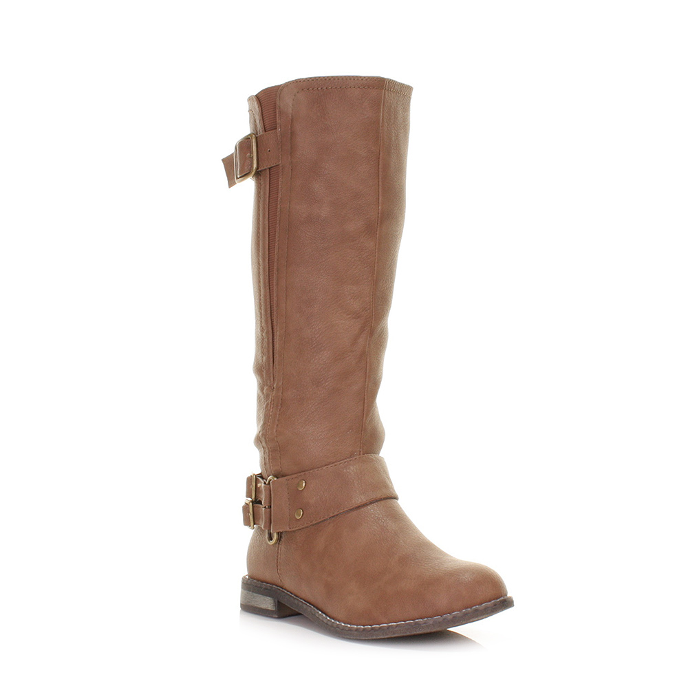 womens leather style knee high flat