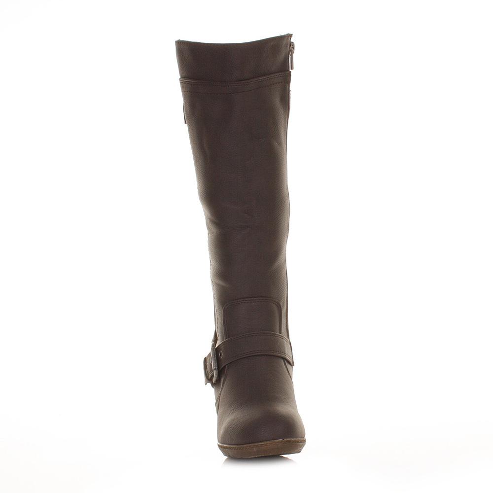 womens xti wedge heel brown leather knee high biker style