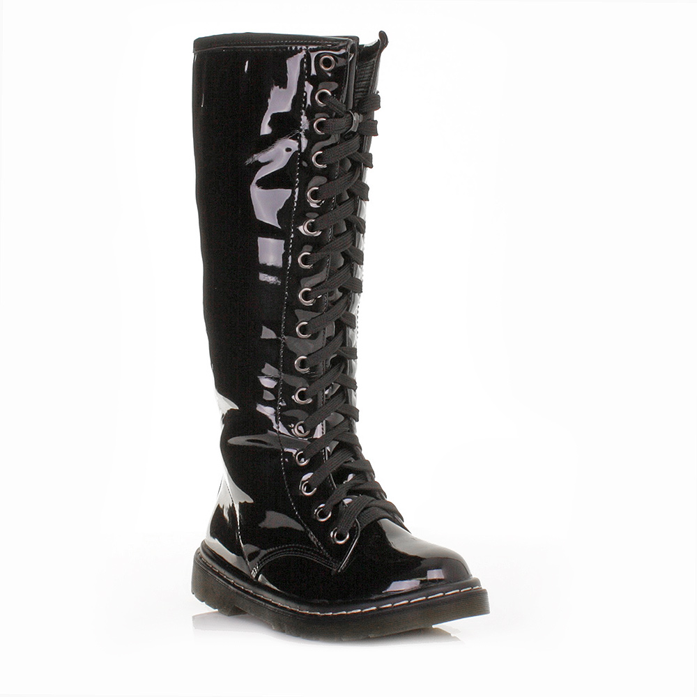 womens black patent lace up knee high wide fit knee