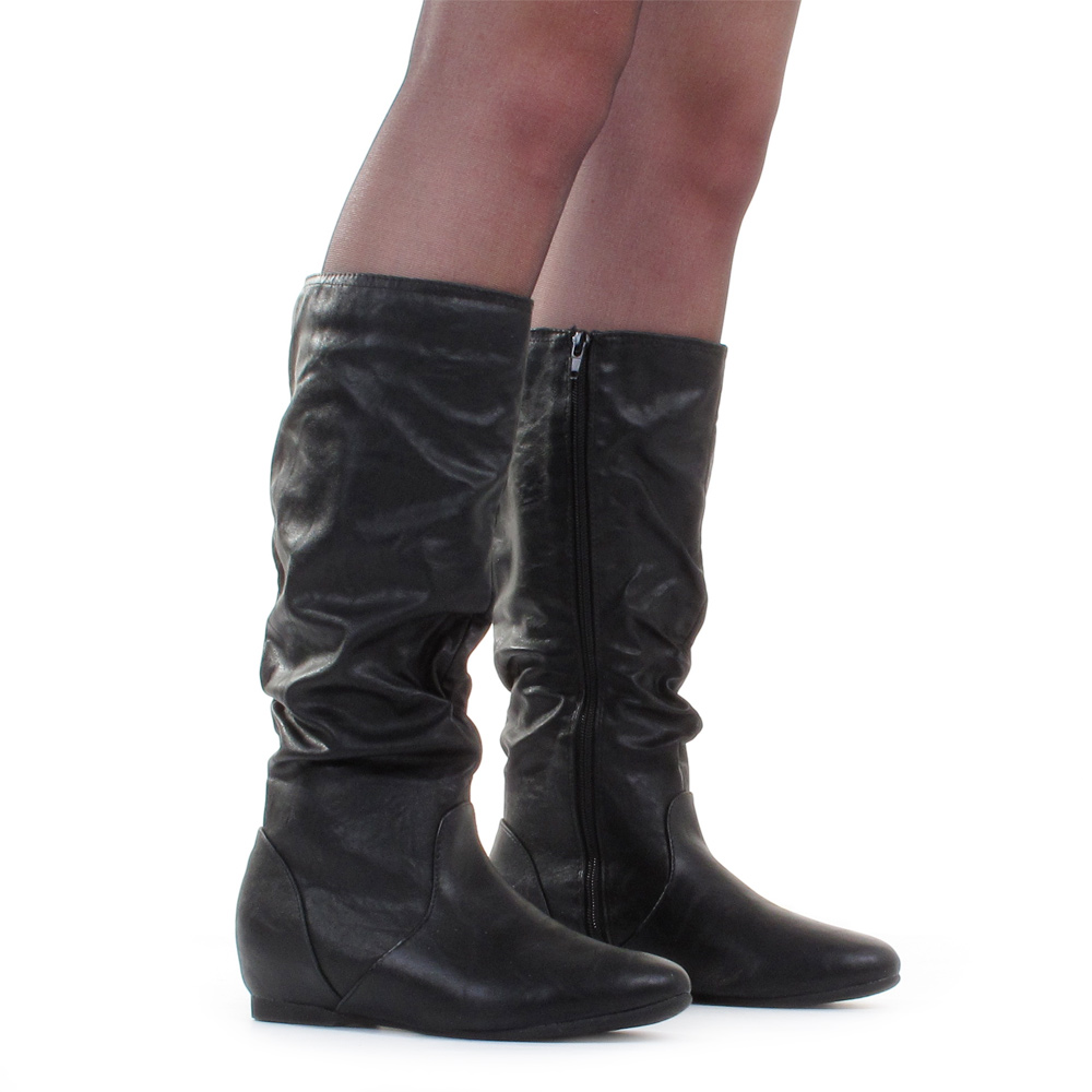 womens flat slouch knee calf high black leather style
