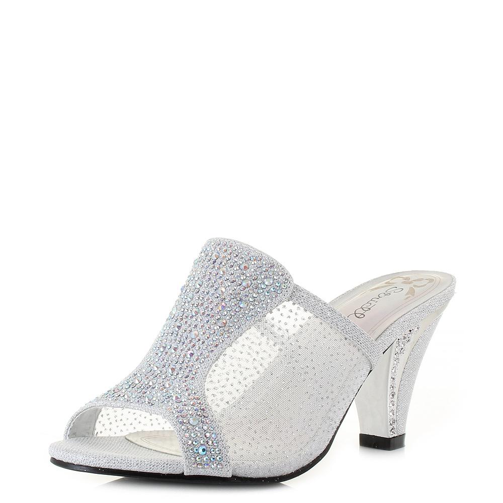 Black sandals mid heel uk - Womens 5315 Silver Mid Heel Slip On Mule Diamante Prom Sandals Shoes Uk Size