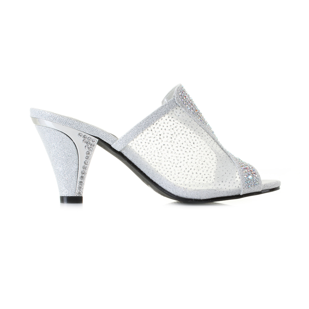 womens 5315 silver mid heel slip on mule diamante prom