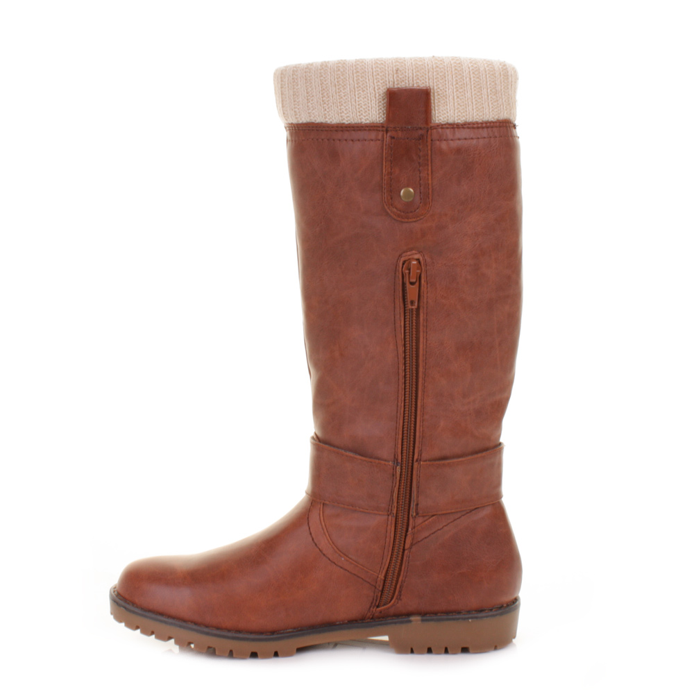 womens flat brown leather style knitted cuff knee