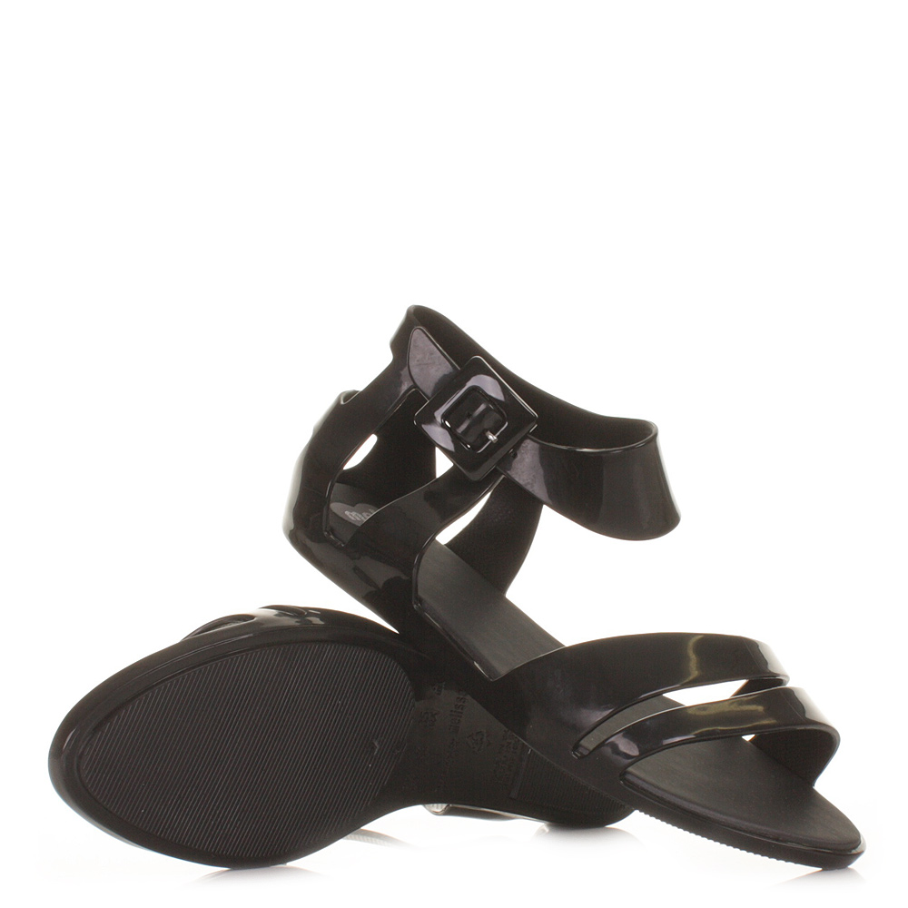 womens mel shoes macadamia black jelly flat sandals