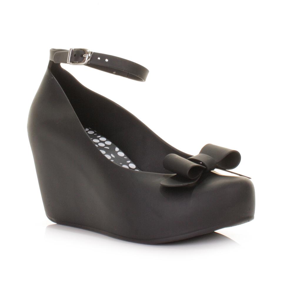 womens mel toffee apple bow black matt wedge heel platform