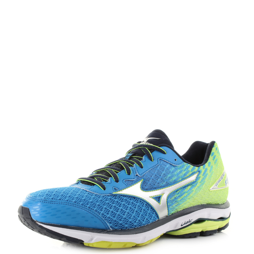 mens mizuno wave rider 19 blue grey yellow running trainers shoes uk size ebay. Black Bedroom Furniture Sets. Home Design Ideas