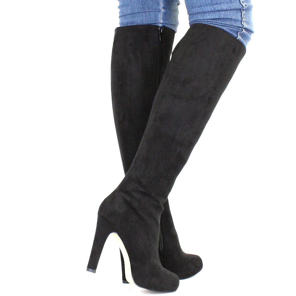 Damen stiefel schwarz mit absatz