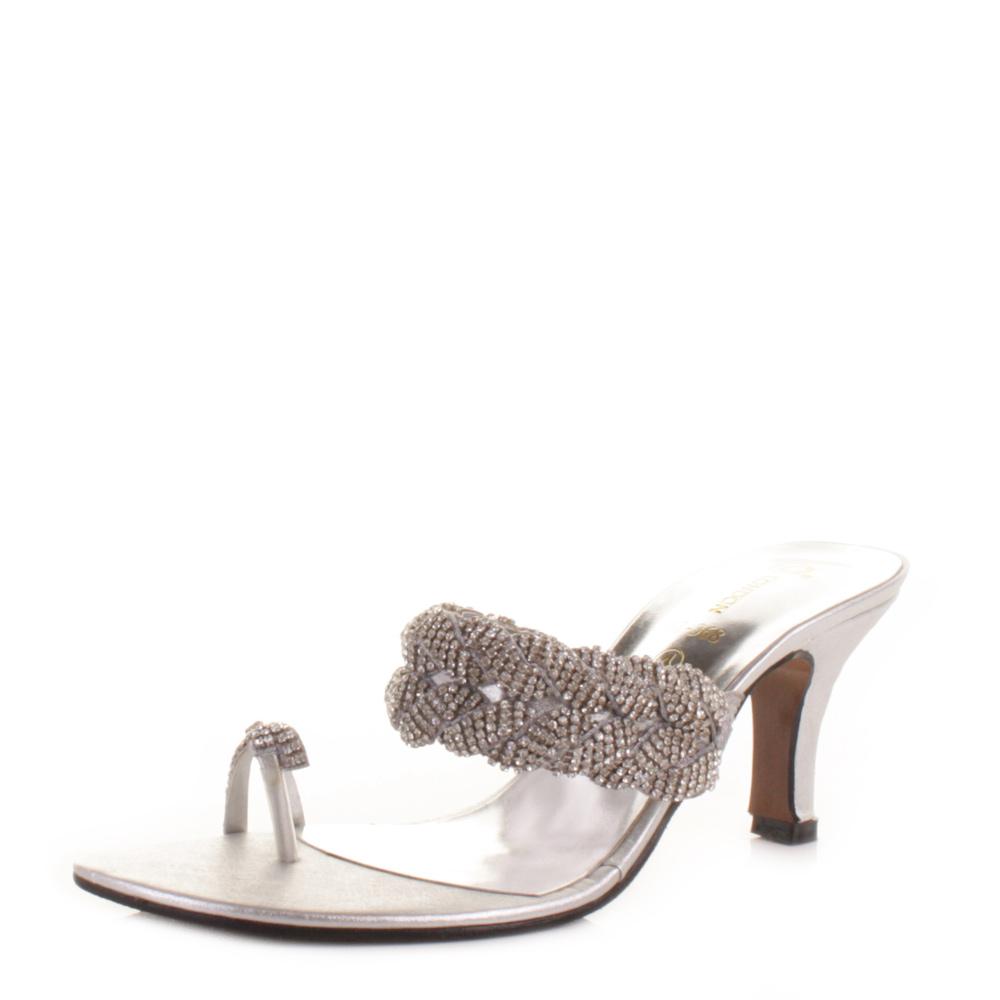 womens mid heel toe loop silver diamante prom