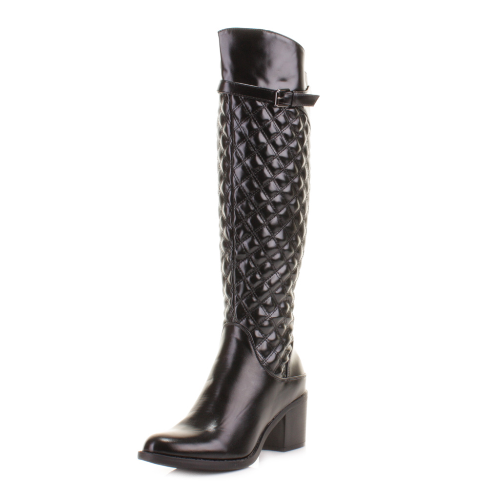 womens black heel quilted knee high leather style