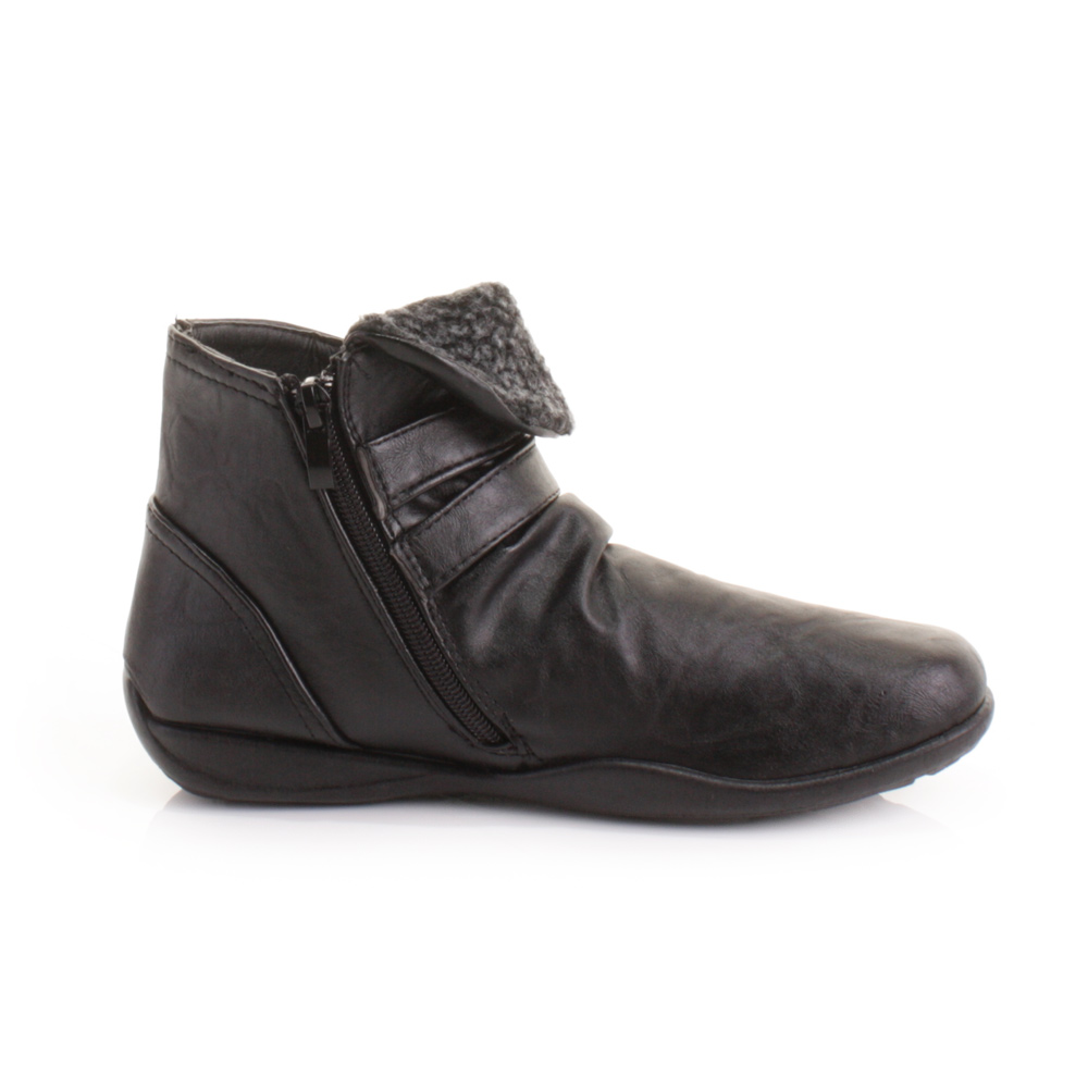 womens black leather style comfort flat ankle boots