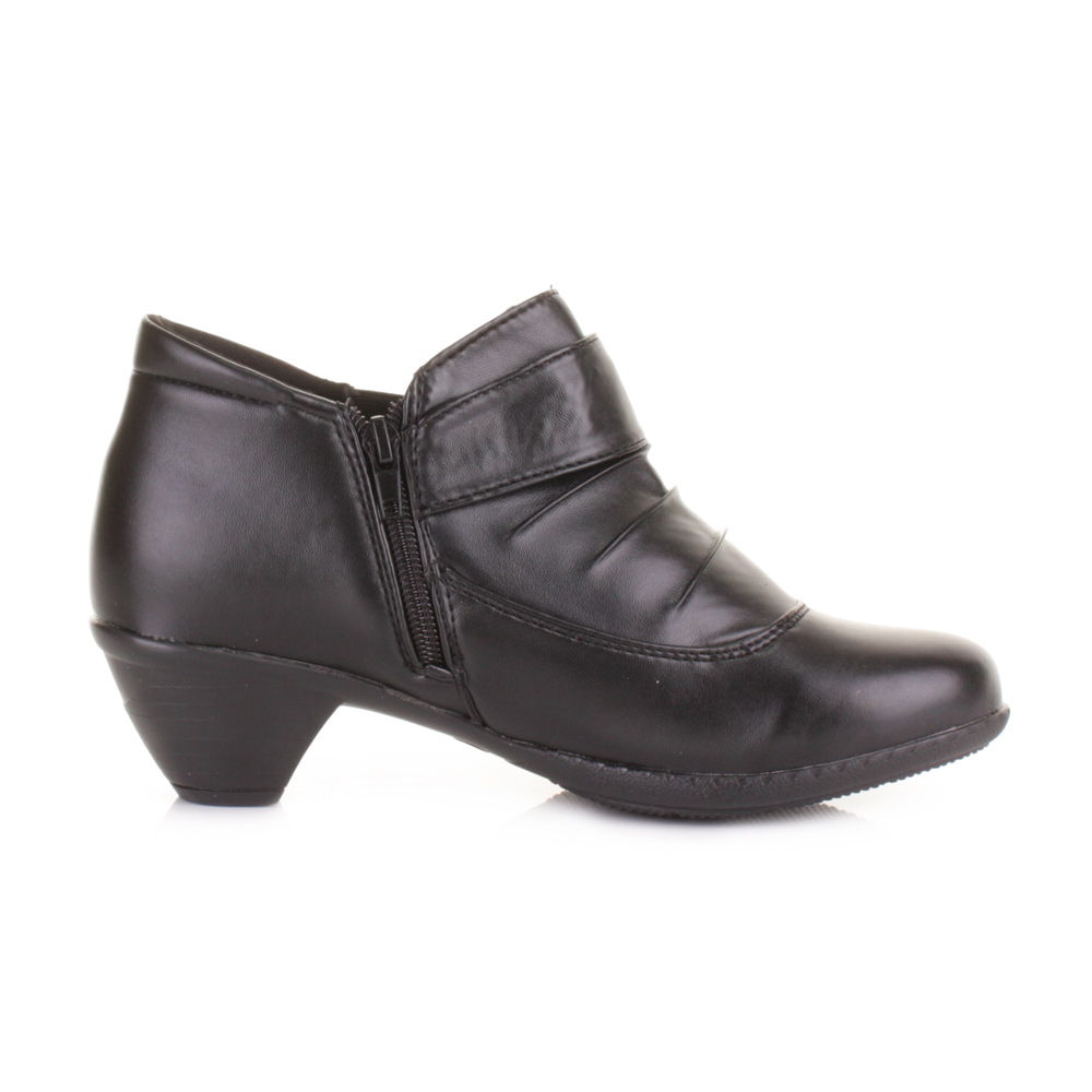 womens comfort low heel black ankle boots button