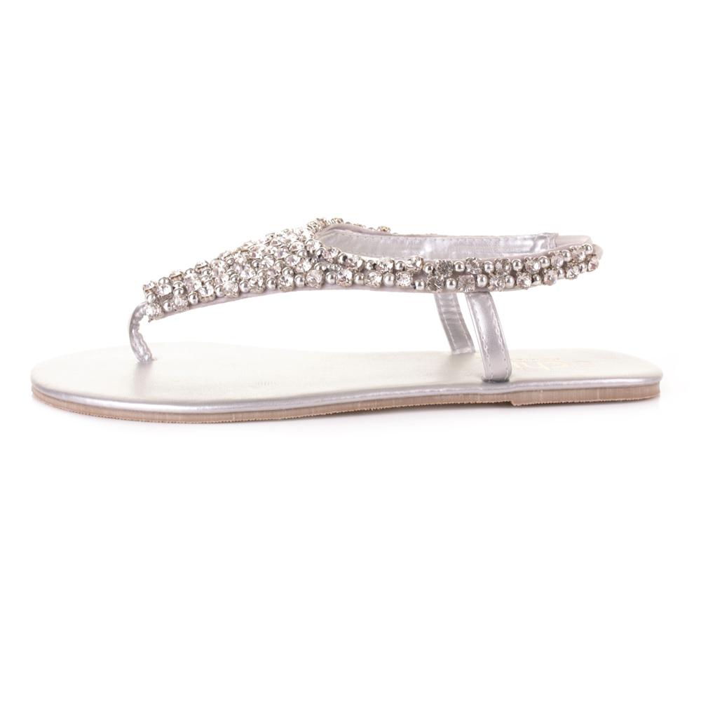 Womens Toe Post Diamante Beaded Wedding Party Flat Slingback Sandals Size
