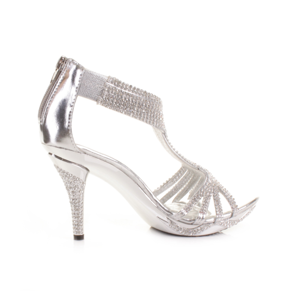 about SILVER WOMENS LADIES DIAMANTE WEDDING HIGH HEEL PROM SHOES