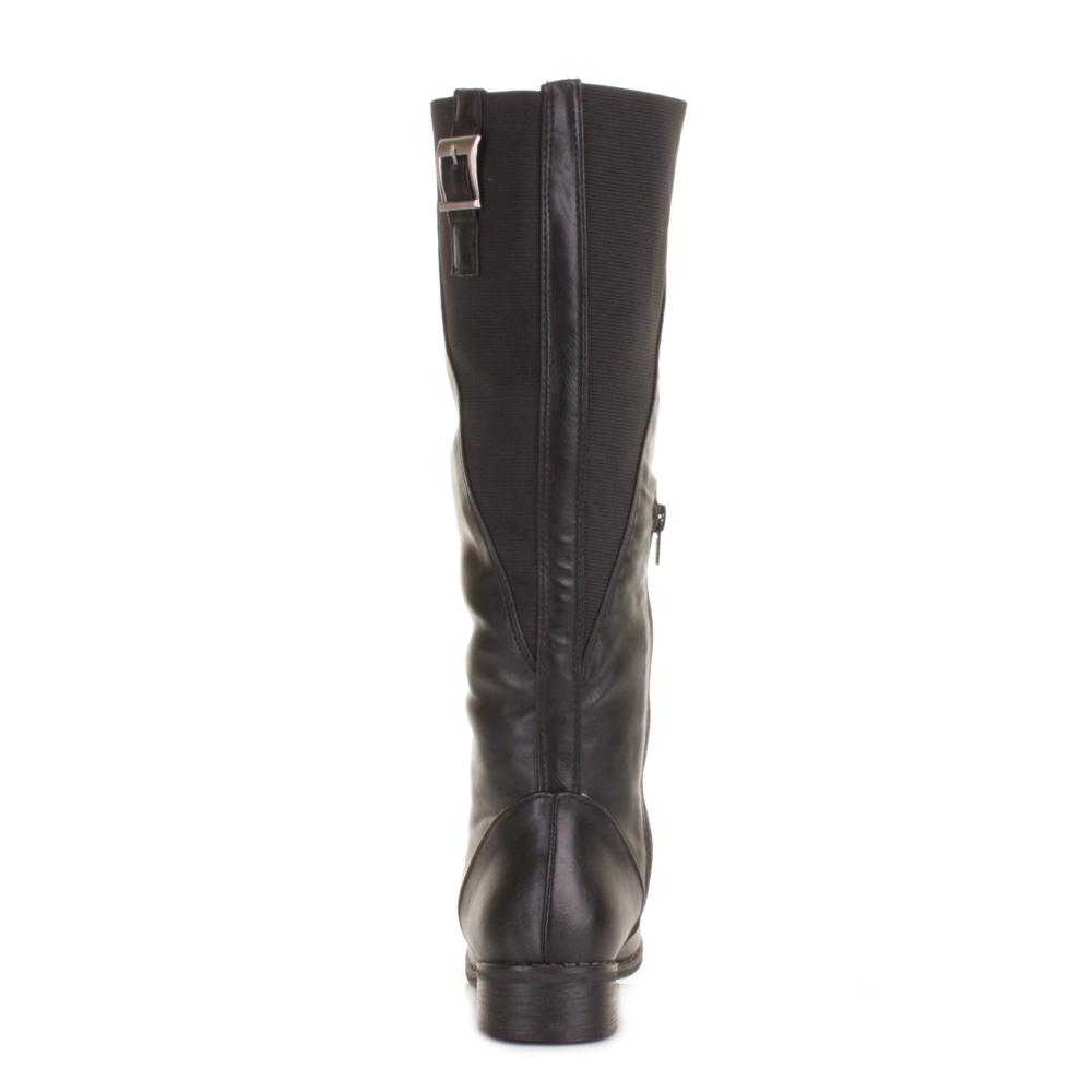 womens slim cut calf leg knee high flat black
