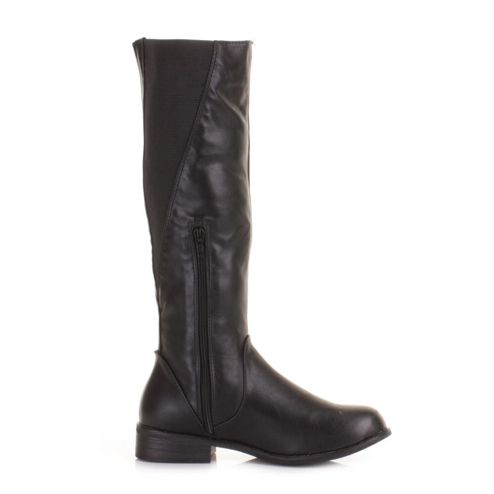 womens slim cut calf leg knee high flat black