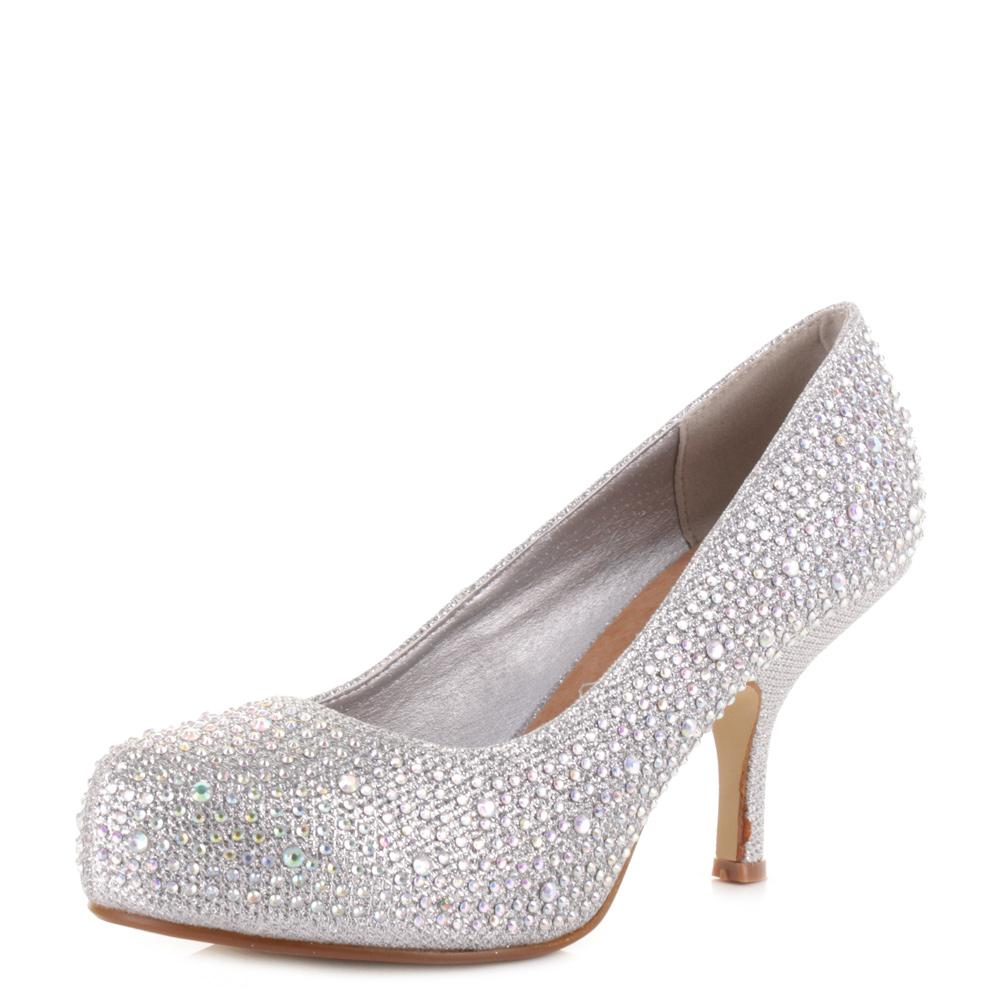 womens mid heel kitten style diamant 195 glitter