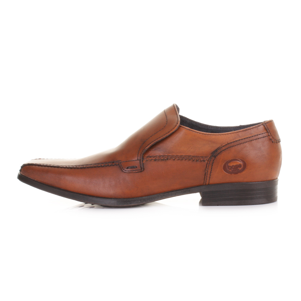 BASE LONDON BIRKDALE WAXY BROWN LEATHER SLIP ON LOAFERS