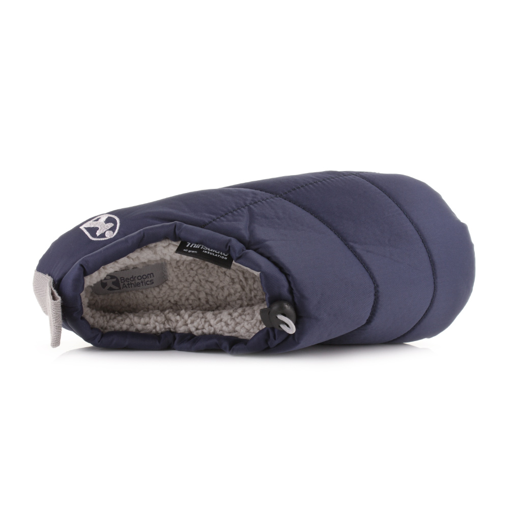 mens bedroom athletics burton navy cosy fleece lined quilted slippers
