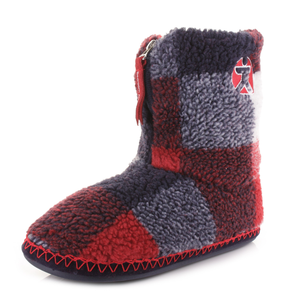 mens bedroom athletics mcqueen red navy check fleece warm slipper boots size ebay