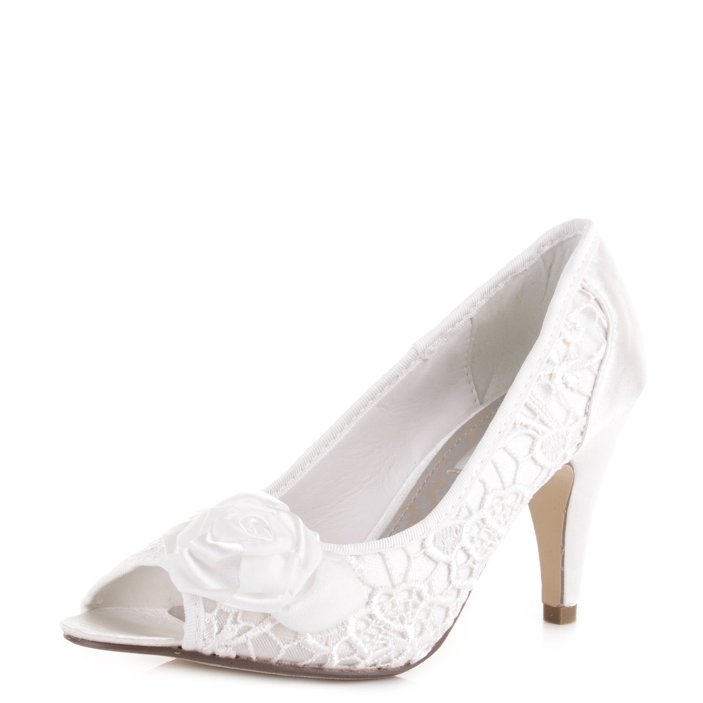 WOMENS LADIES IVORY WEDDING PROMS BRIDAL MID HEEL FLOWER