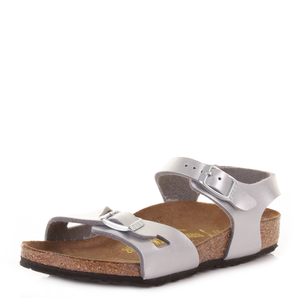 Girls Birkenstock Rio Silver Kinder Buckle Footbed Sandals Shoes ...