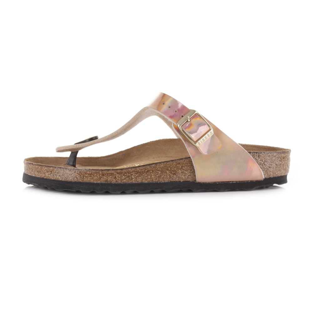 womens birkenstock gizeh normal fit mirror rose gold flat