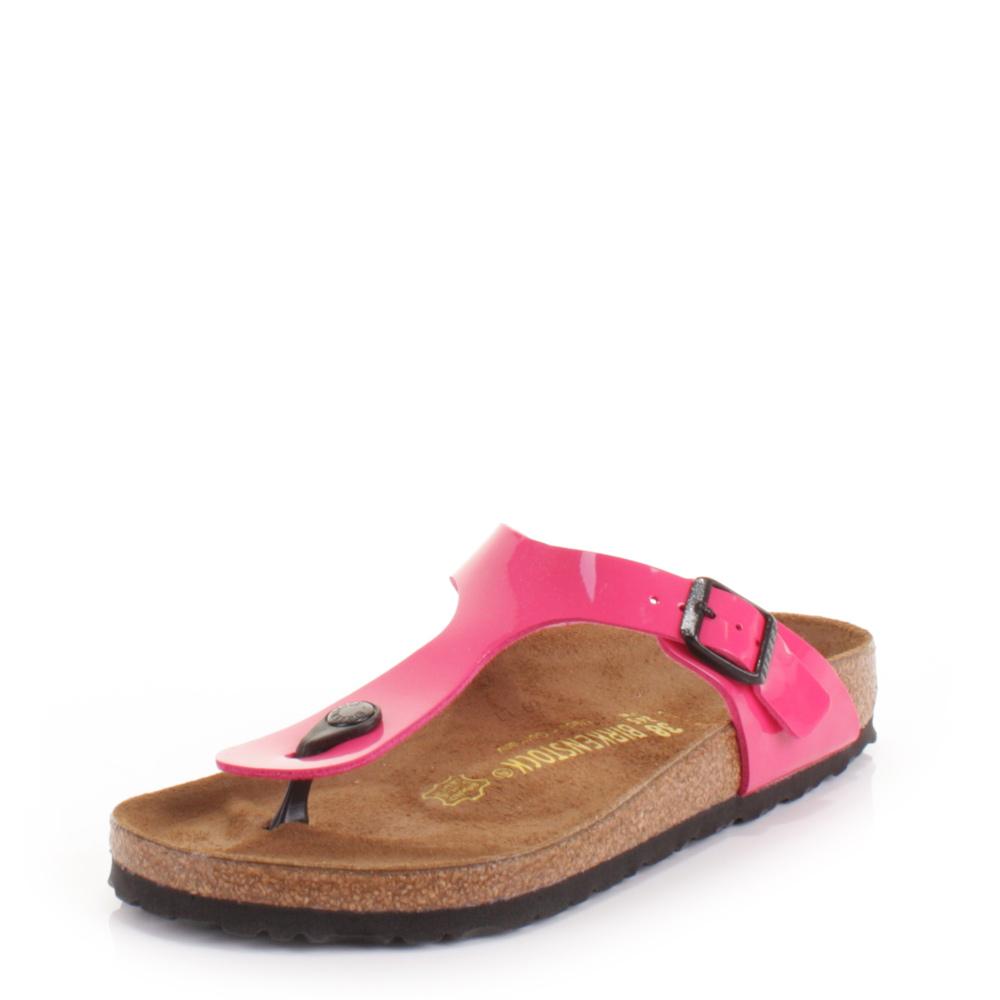 womens birkenstock gizeh pink lack leather footbed sandals. Black Bedroom Furniture Sets. Home Design Ideas