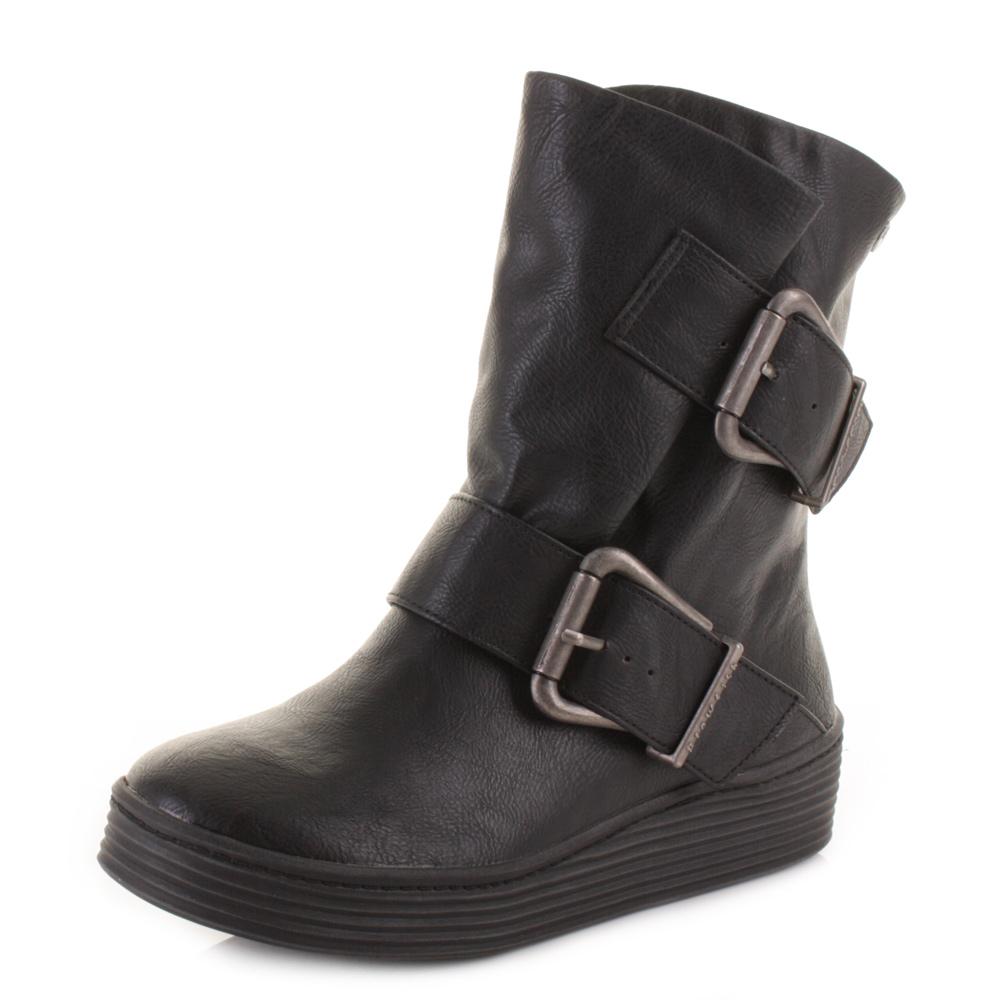 womens blowfish barnaby black saddle flat wide fit