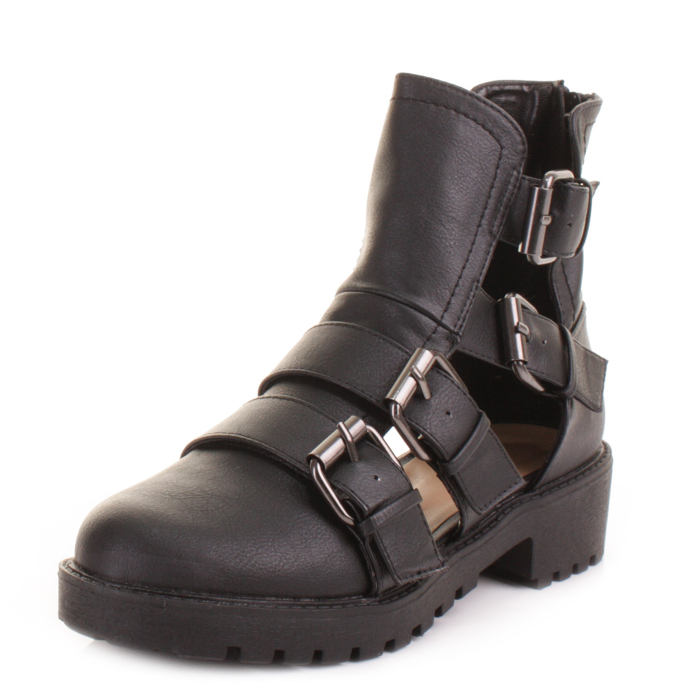 womens cut out flat black buckle ankle boots gladiator