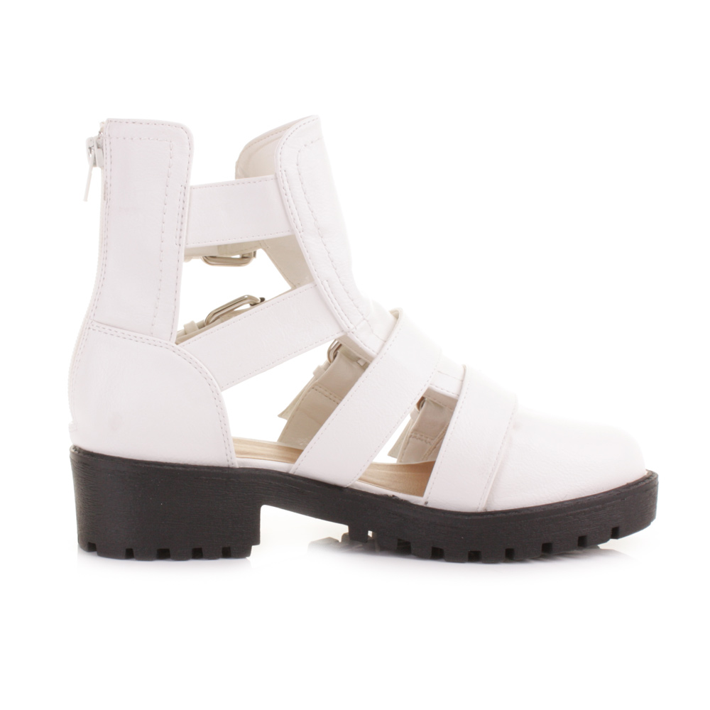 womens white cut out gladiator sandal flat buckle ankle