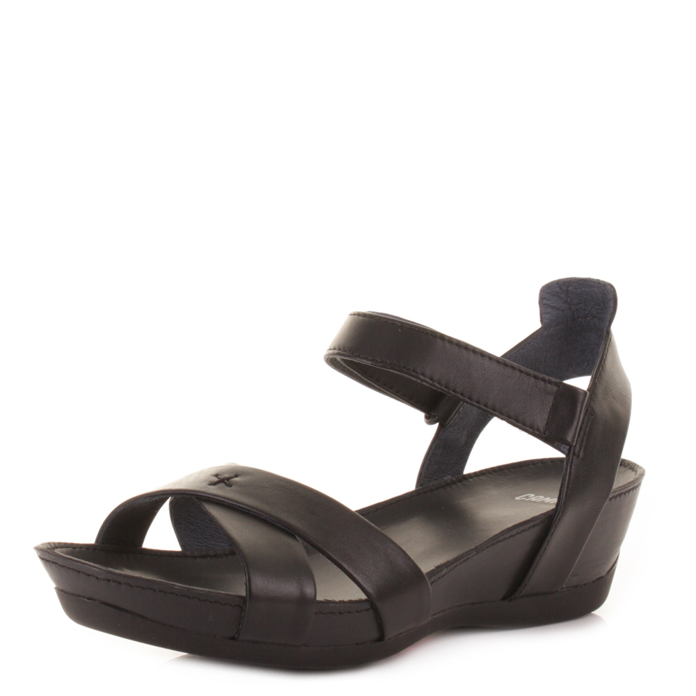 CAMPER MICRO NEGRO BLACK LEATHER LOW HEEL STRAPPY SANDALS SHOES SIZE 3