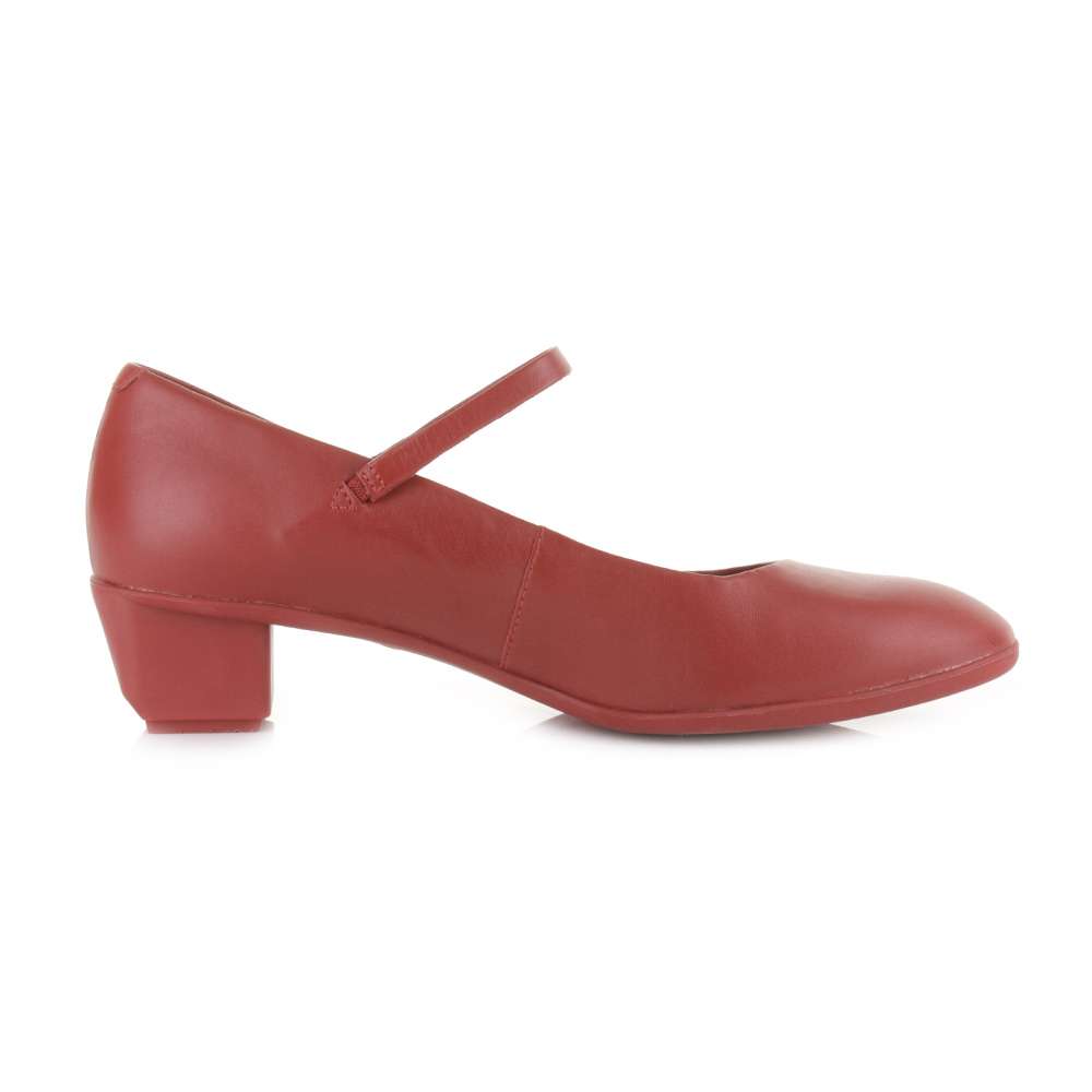 WOMENS CAMPER BETH RED LEATHER MARY JANE LOW HEEL LADIES COURT