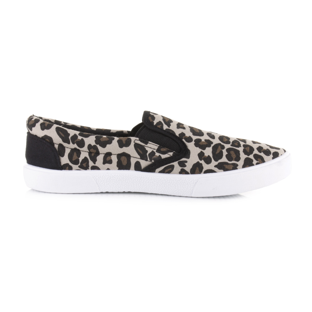 womens leopard print slip on canvas plimsolls