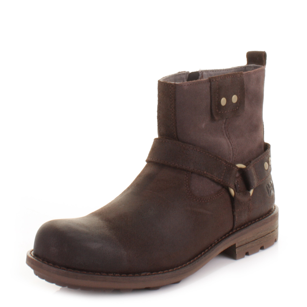 mens caterpillar phantom mocha brown leather western ankle