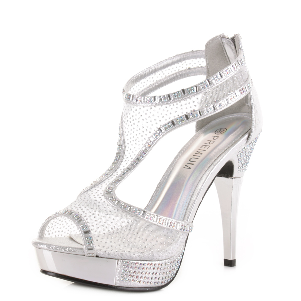 WOMENS HIGH HEEL SILVER PEEP TOE MESH DIAMANTE PROM PART