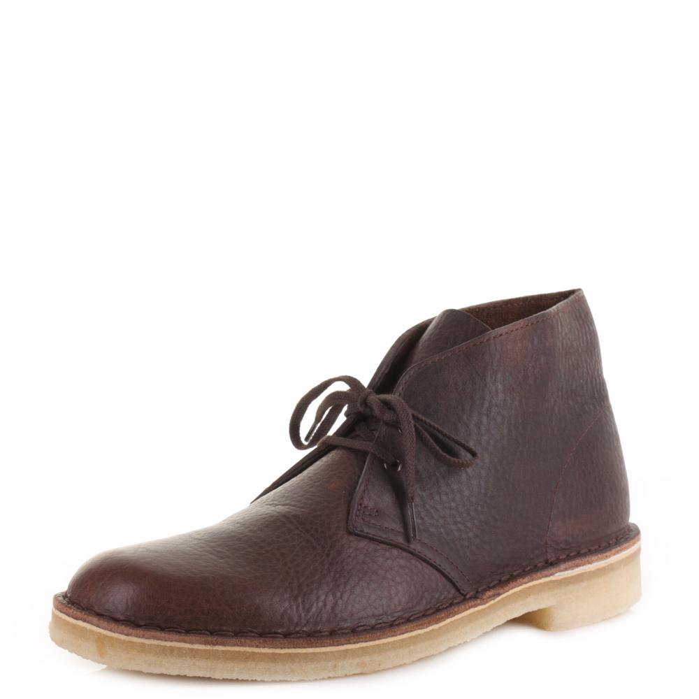 mens clarks originals desert boot brown tumb leather smart
