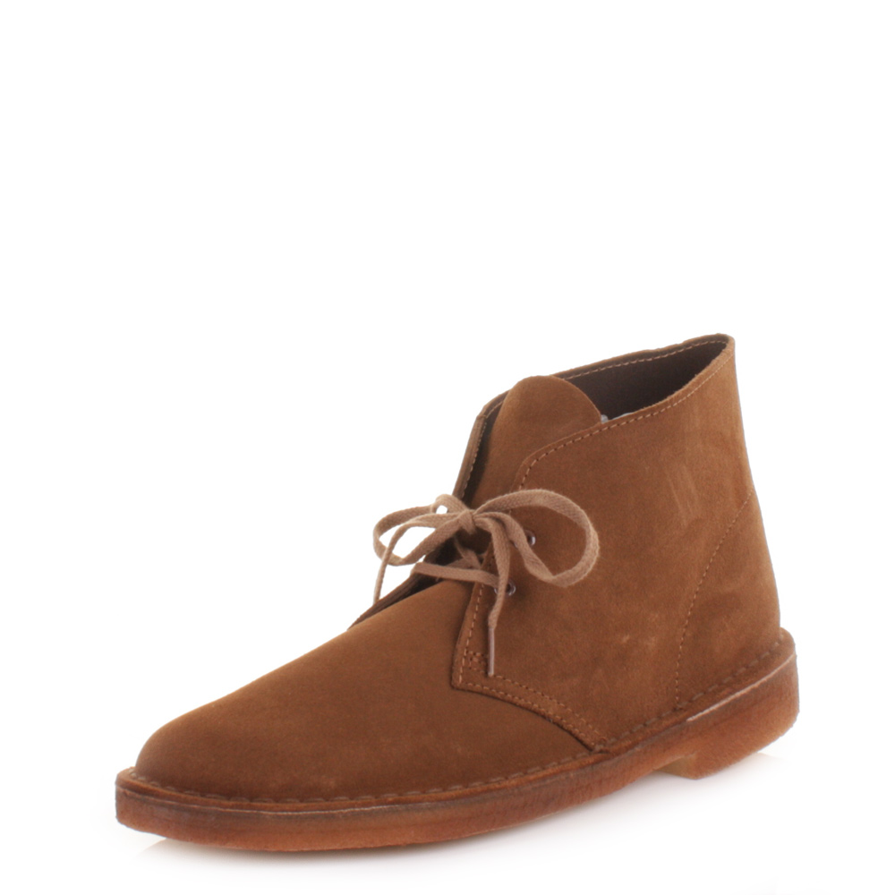 mens clarks desert cola suede lace up smart casual ankle