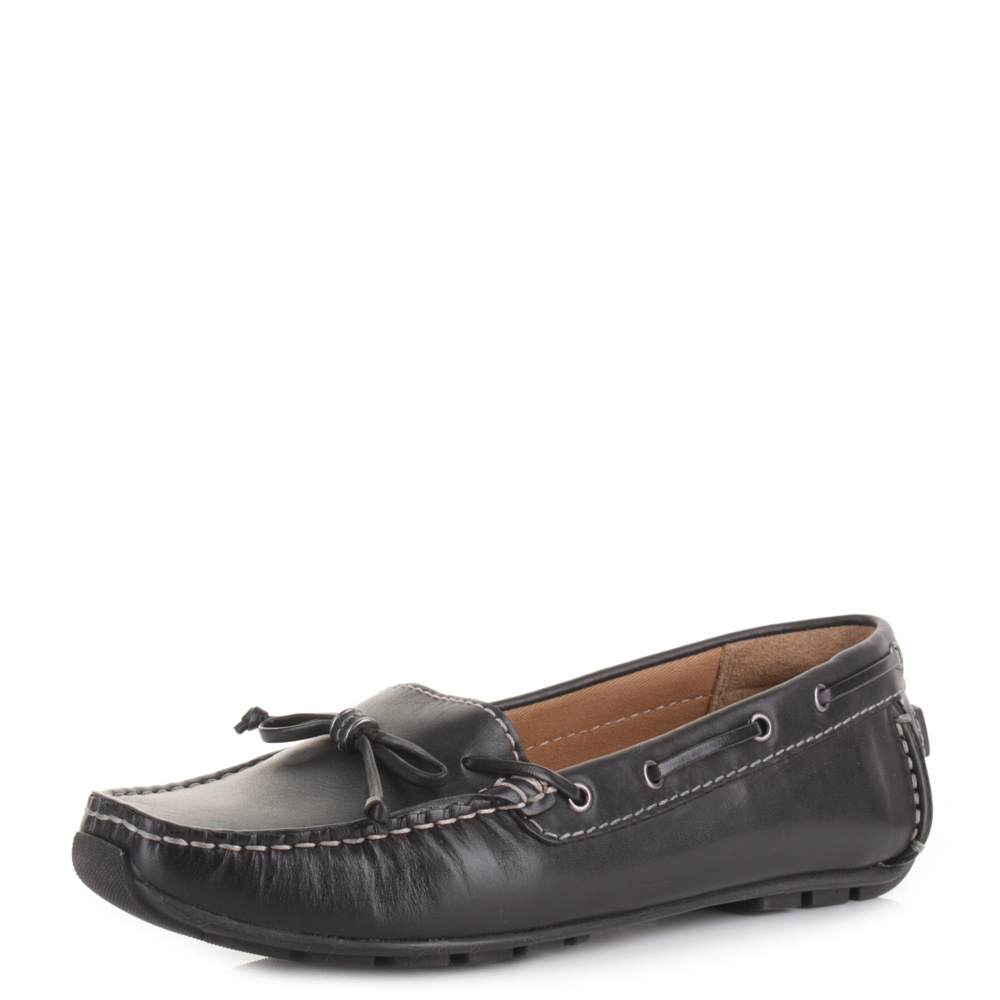 womens clarks dunbar groove black leather flat driving