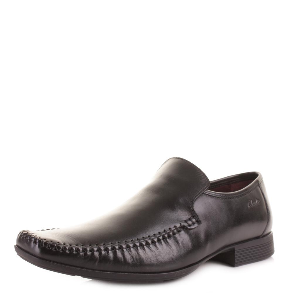 mens clarks ferro step black formal smart work leather