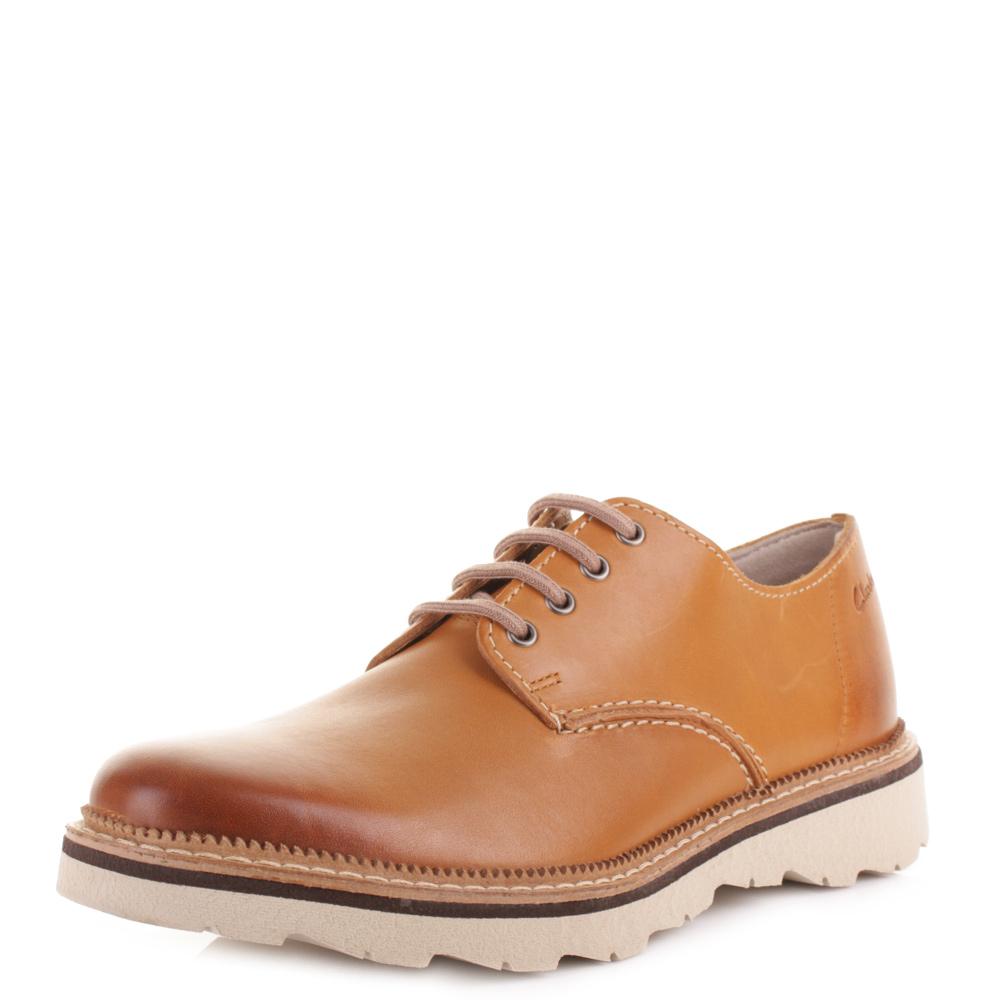 mens clarks frelan walk cognac leather smart casual