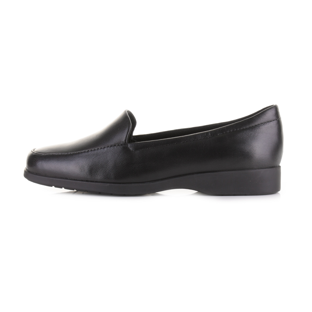 womens clarks black leather slip on comfort work