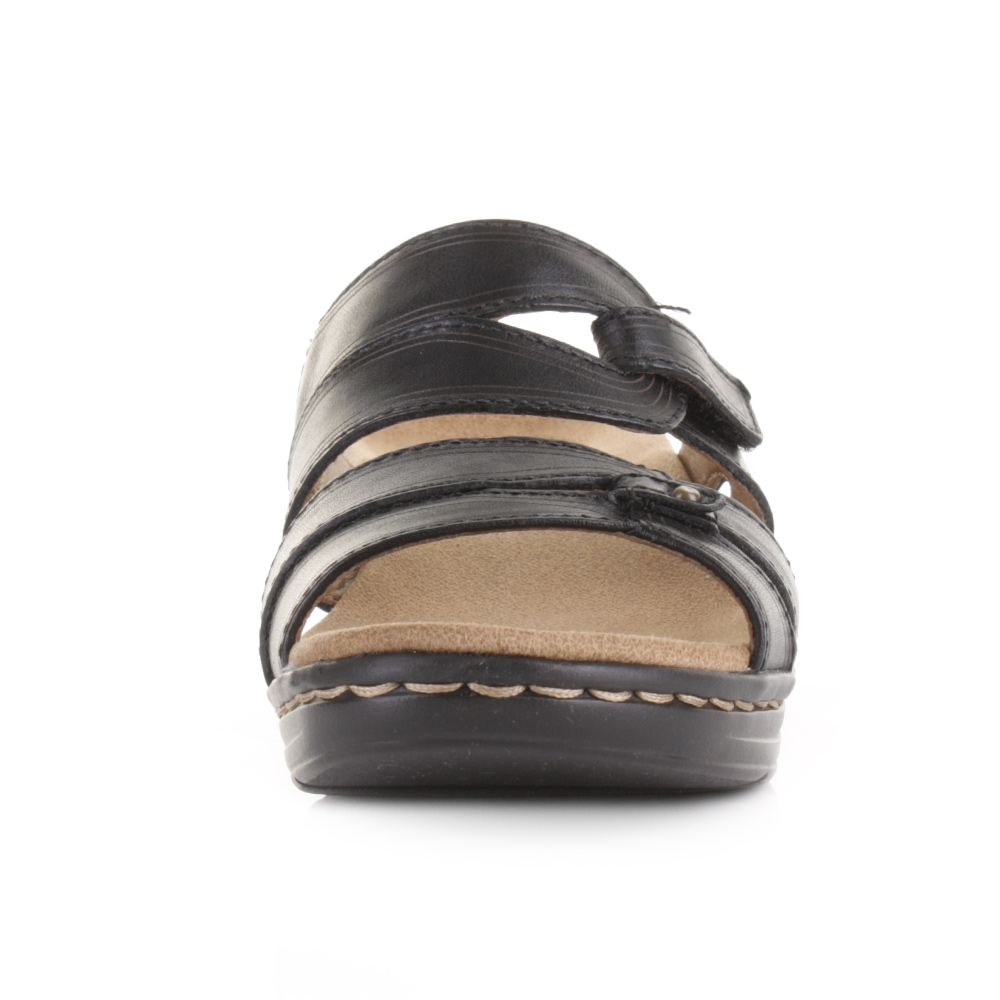 Black leather sandals low heel - Womens Clarks Hayla Canyon Black Leather Low Heel Comfort Mule Sandals Size